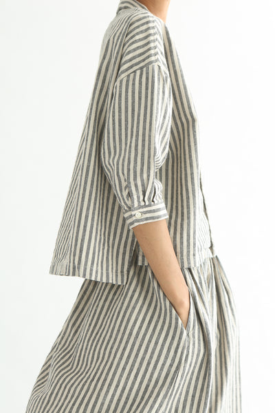 Ichi Top - Cotton/Linen in Natural/Black Small Stripe side