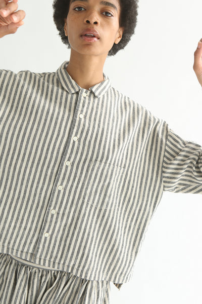 Ichi Top - Cotton/Linen in Natural/Black Small Stripe front button closures and collar