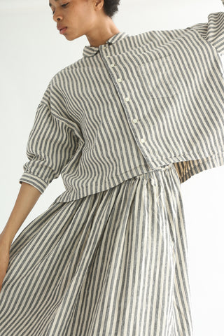 Ichi Top - Cotton/Linen in Natural/Black Small Stripe front