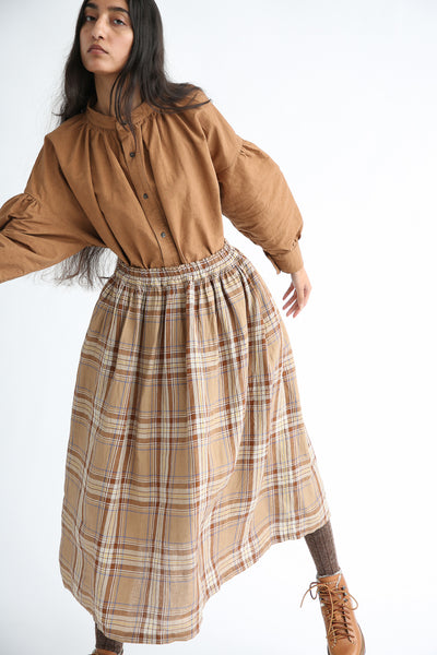 Ichi Antiquites Skirt - Linen in Beige Tartan Check on model view front