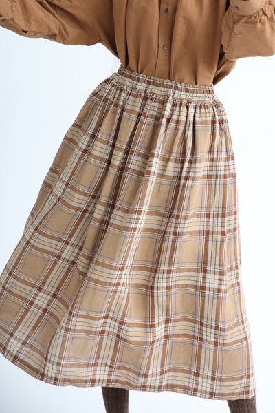 Ichi Antiquites Skirt - Linen in Beige Tartan Check front