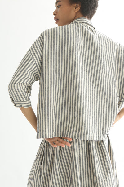 Ichi Top - Cotton/Linen in Natural/Black Small Stripe back