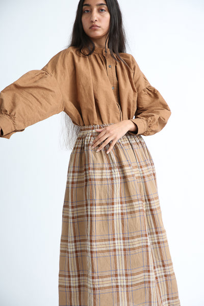 Ichi Antiquites Skirt - Linen in Beige Tartan Check side