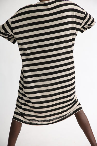 Linen Dress in Big Natural/Black Stripe