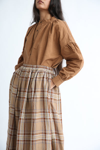 Ichi Antiquites Skirt - Linen in Beige Tartan Check pocket detail