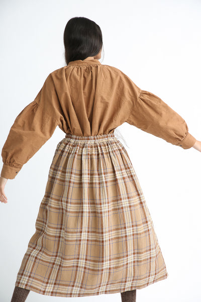 Ichi Antiquites Skirt - Linen in Beige Tartan Check back