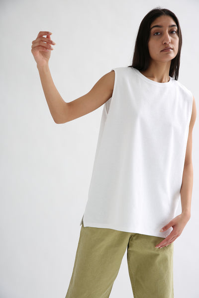 Chimala Muscle Tee in Off White  front