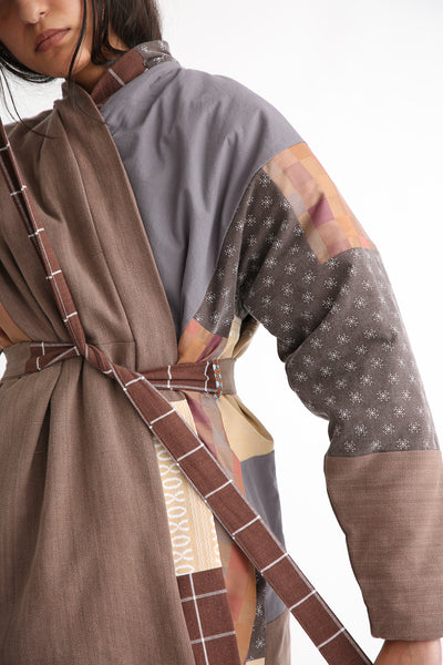Bettina Bakdal Patchwork Kimono Jacket in Brown tie detail