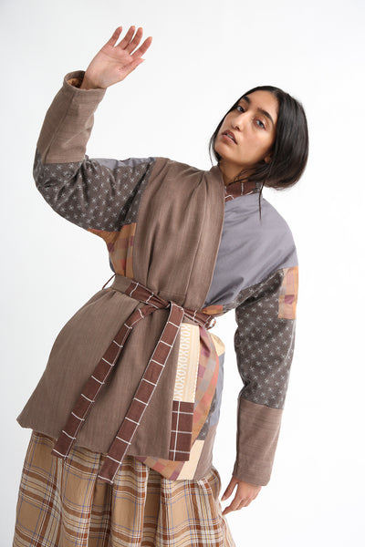 Bettina Bakdal Patchwork Kimono Jacket in Brown front