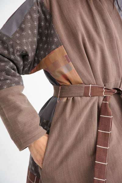 Bettina Bakdal Patchwork Kimono Jacket in Brown pocket