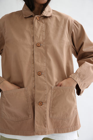 Chimala Rail Road Short Jacket in Pink Beige front patch pocket detail