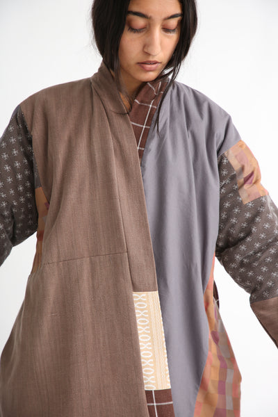 Bettina Bakdal Patchwork Kimono Jacket in Brown open front