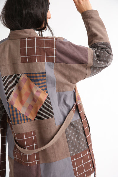 Bettina Bakdal Patchwork Kimono Jacket in Brown back detail