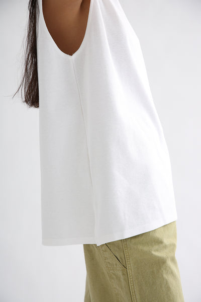 Chimala Muscle Tee in Off White side slit detail