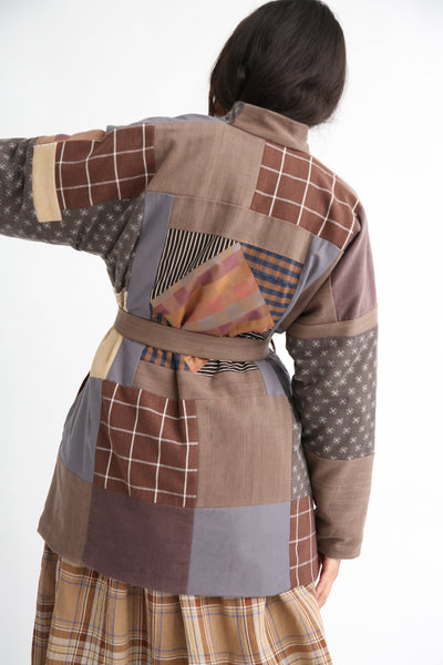 Bettina Bakdal Patchwork Kimono Jacket in Brown back
