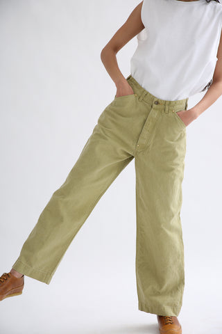 Chimala Canvas Painter Pants in Yellow Green front