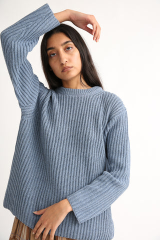 Ichi Antiquites Crew Sweater - Cotton/Wool/Rayon in Blue sleeve view