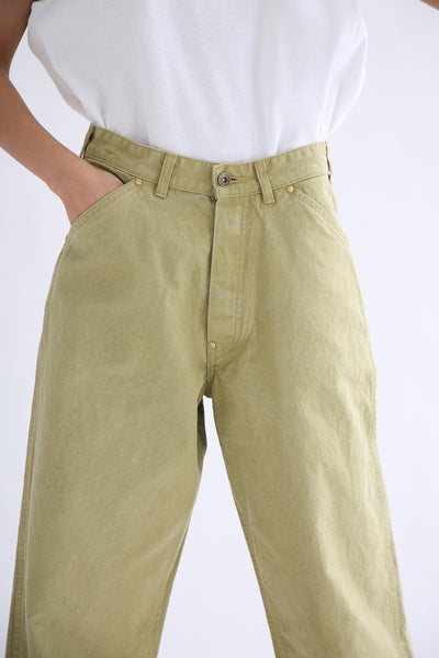 Chimala Canvas Painter Pants in Yellow Green front pocket detail