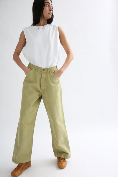 Chimala Canvas Painter Pants in Yellow Green on model view front
