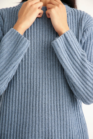 Ichi Antiquites Crew Sweater - Cotton/Wool/Rayon in Blue rib knit detail