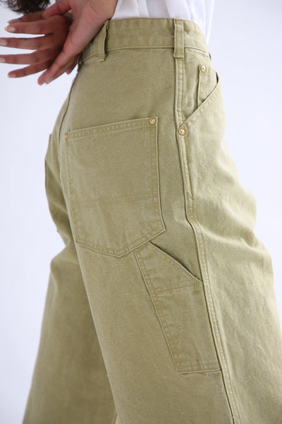 Chimala Canvas Painter Pants in Yellow Green side pocket detail