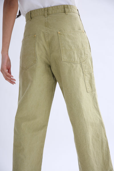 Chimala Canvas Painter Pants in Yellow Green back