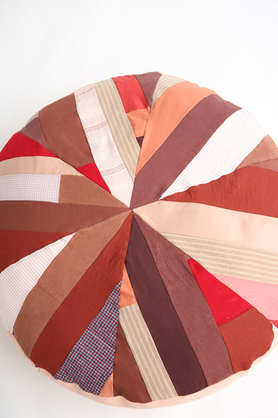 La Reunion Patchwork Pouf in Red