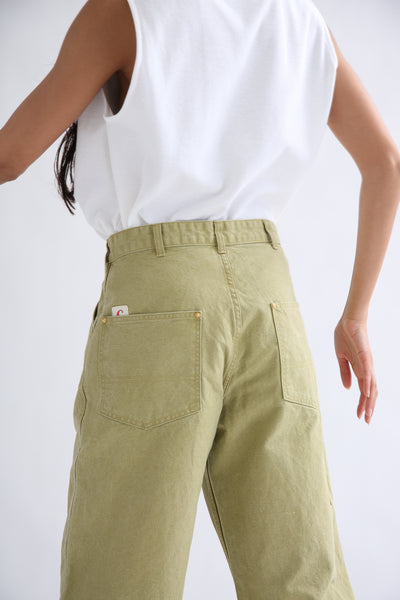 Chimala Canvas Painter Pants in Yellow Green back left pocket detail