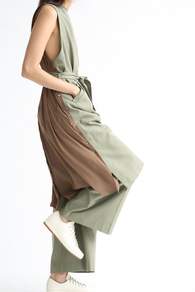 Rito Gilet Dress in Khaki side