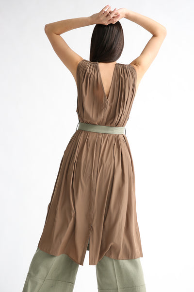 Rito Gilet Dress in Khaki on model view back