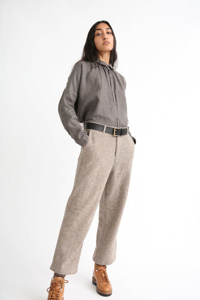 Ichi Antiquites Pant - Wool in Beige on model view front