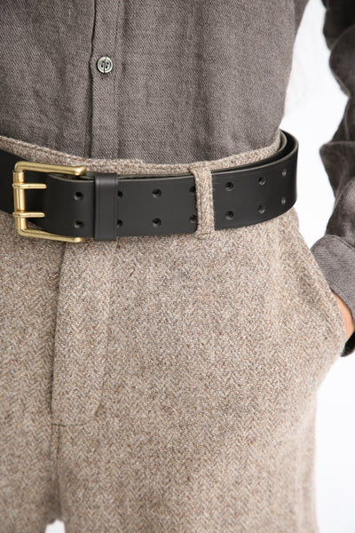 Ichi Antiquites Belt - Cow Leather in Black buckle detail view