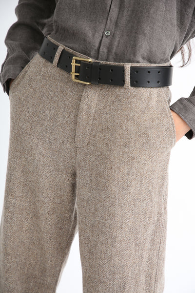 Ichi Antiquites Pant - Wool in Beige pocket and waistband detail
