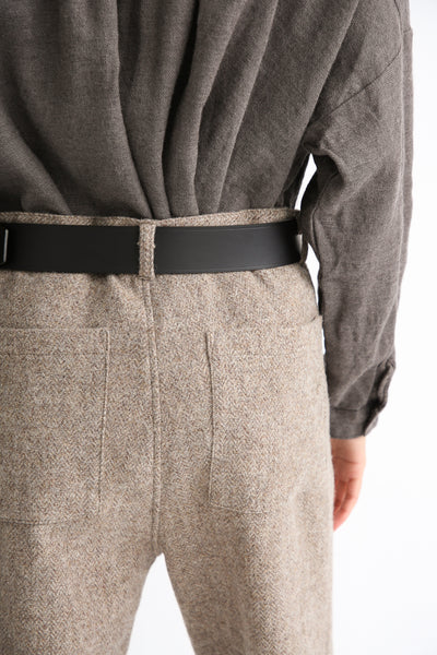 Ichi Antiquites Belt - Cow Leather in Black back