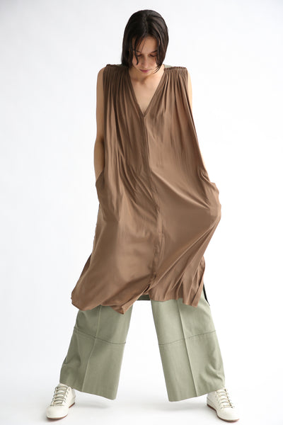 Rito Gilet Dress in Khaki on model view front