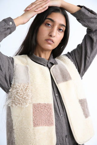 Milena Silvano Patchwork Vest Limited in Cream, Grey and Rose front