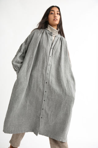 Ichi Antiquites Dress - Linen in Sumi Light front
