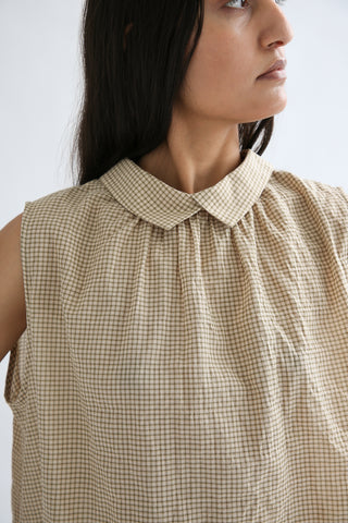 Chimala Sleeveless Front Back 2 Way Shirt in Mini Check / Beige collar detail