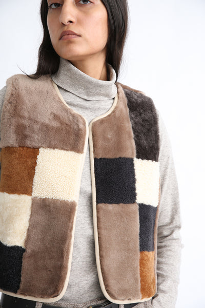 Milena Silvano Patchwork Vest Limited in Cream, Brown and Black front