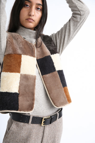 Milena Silvano Patchwork Vest Limited in Cream, Brown and Black on model view front