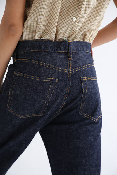 Chimala 13.5 oz. Selvedge Denim Wide Tapered Cut in Rinse back pocket detail