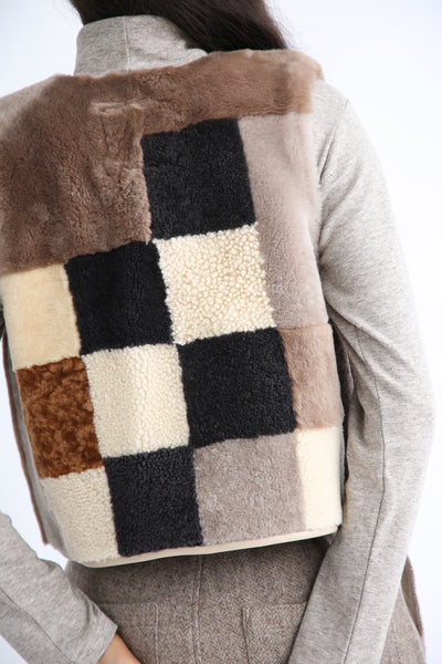 Milena Silvano Patchwork Vest Limited in Cream, Brown and Black back