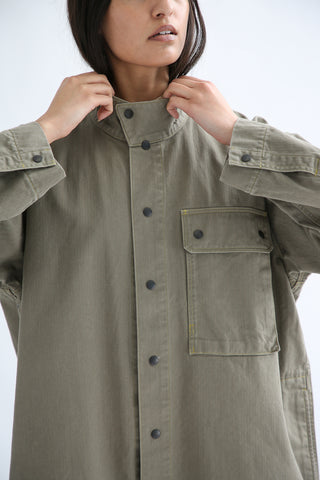 Chimala Australian Military Fatigue Long Jacket in Khaki Green collar detail