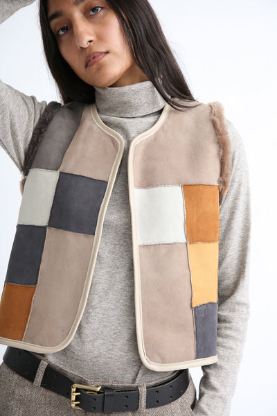 Milena Silvano Patchwork Vest Limited in Cream, Brown and Black reverse side front