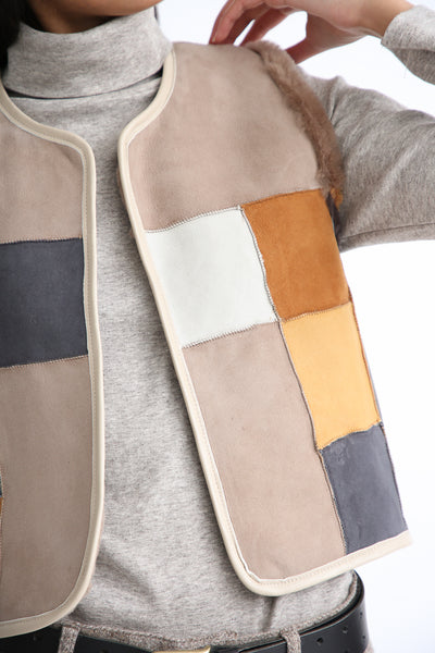 Milena Silvano Patchwork Vest Limited in Cream, Brown and Black reverse side patchwork detail