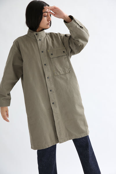 Chimala Australian Military Fatigue Long Jacket in Khaki Green on model view front closed