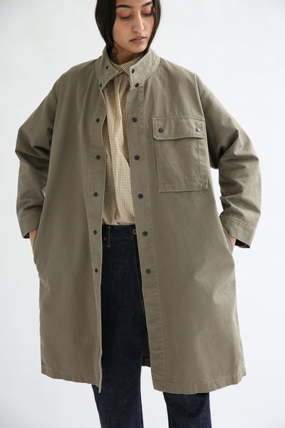 Chimala Australian Military Fatigue Long Jacket in Khaki Green on model view front open