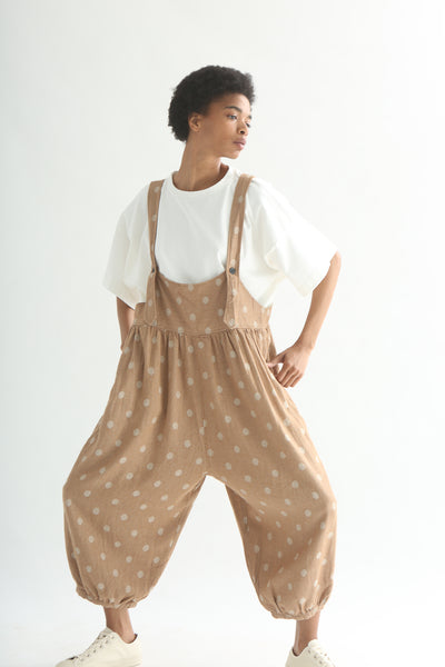 Ichi Overall Pant - Linen/Cotton in Camel Polka Dot on model view front