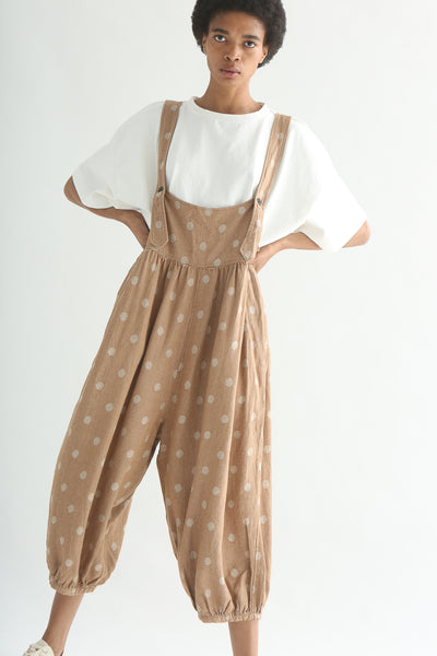 Ichi Overall Pant - Linen/Cotton in Camel Polka Dot front