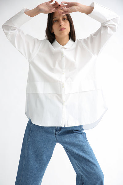 Rito Broad Shirt in White on model view front
